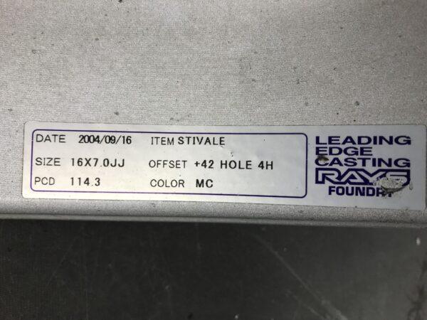RAYS VERSUS STIVALE 16x7j +42 4x114.3 CB:72 x4